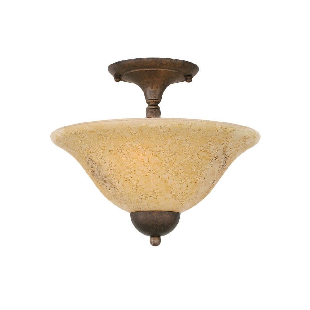 Concord 2-Light Bronze Ceiling Semi-Flush Mount Light