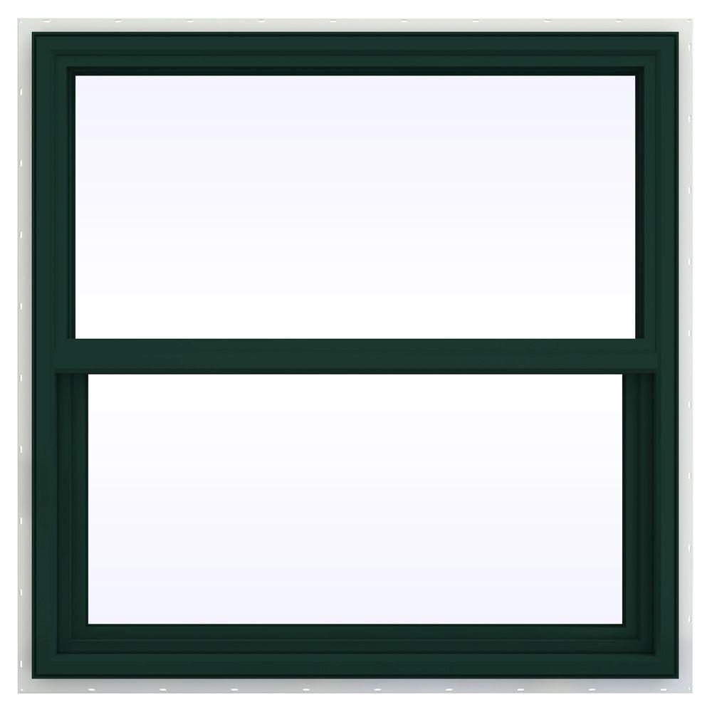JELD-WEN 35.5 in. x 35.5 in. V-4500 Series Single Hung Vinyl Window - Green