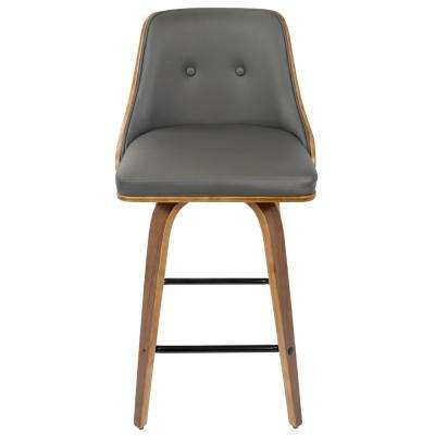 Gianna 26 in. Walnut Wood and Grey Faux Leather Counter Stool