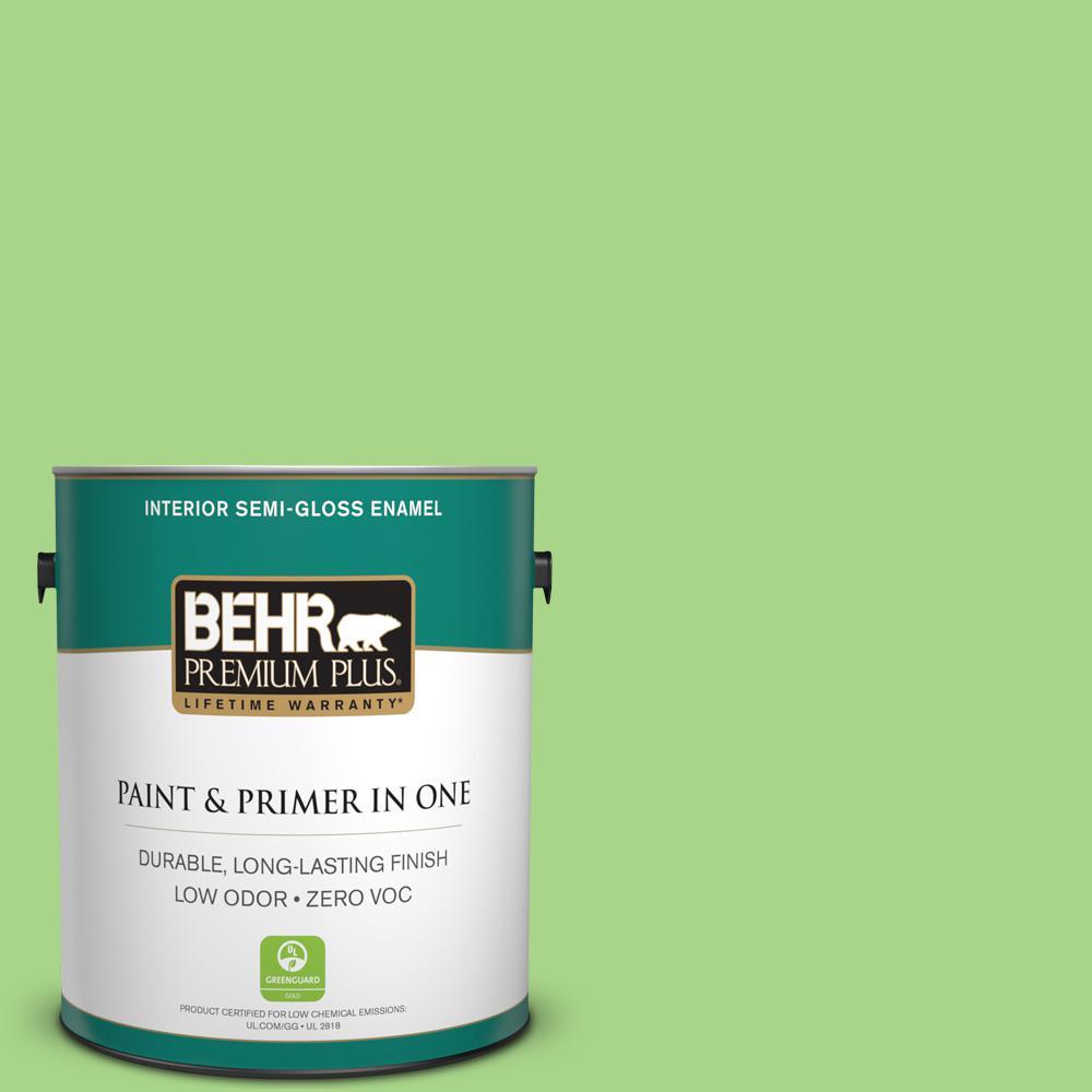 BEHR Premium Plus 1 gal. #430B-4 Peas in a Pod Semi-Gloss Enamel Zero VOC Interior Paint and Primer in One