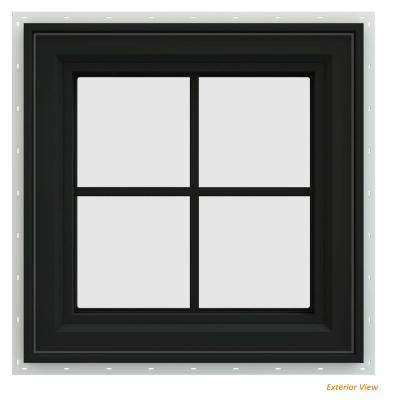 23.5 in. x 23.5 in. V-4500 Series Bronze Painted Vinyl Right-Handed Casement Window with Colonial Grids/Grilles