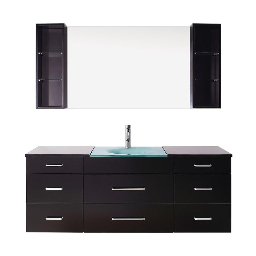Virtu USA Columbo 59 in. Single Basin Vanity in Espresso with Glass Vanity Top in Aqua and Mirror
