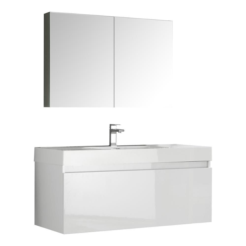 Fresca Mezzo 48 in. Vanity in White with Acrylic Vanity Top in White with White Basin and Mirrored Medicine Cabinet