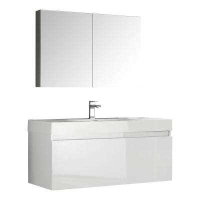 Mezzo 48 in. Vanity in White with Acrylic Vanity Top in White with White Basin and Mirrored Medicine Cabinet