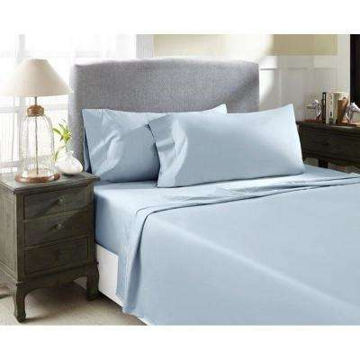Light Blue T1000 Solid Combed Cotton Sateen Queen Sheet Set