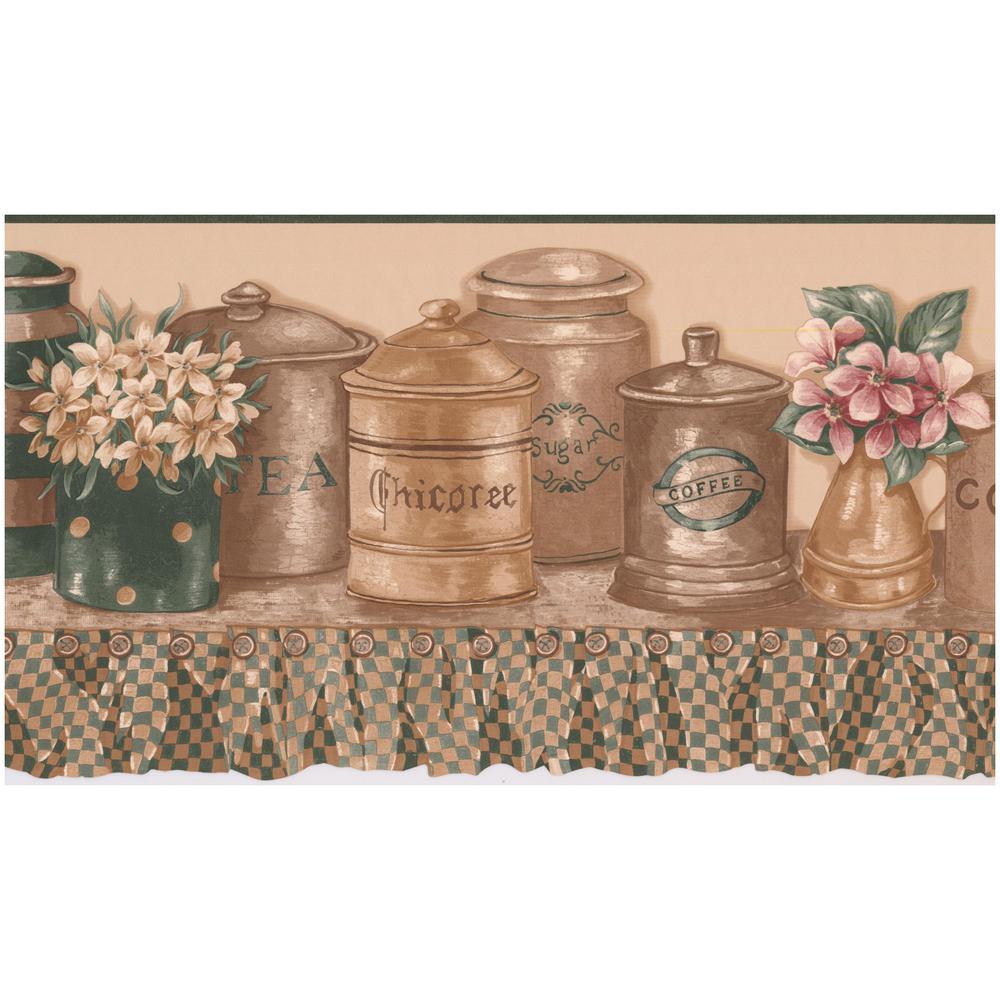 Retro Art Coffee Tea Sugar Cookie Cookie Jars On Shelf Kitchen Prepasted Wallpaper Border Rc005102b The Home Depot