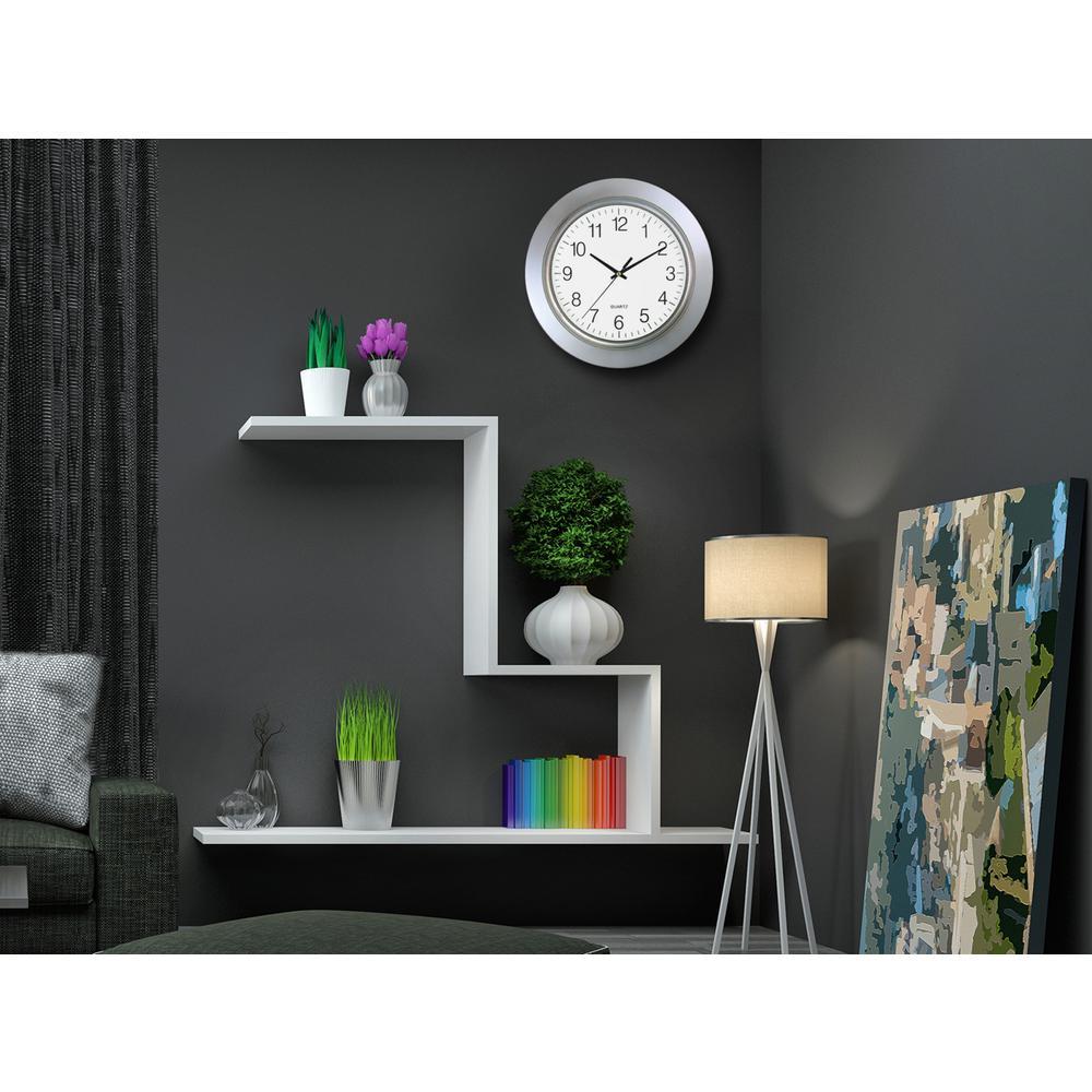 13 in. Round Silver Frame Silver Rim Wall Clock