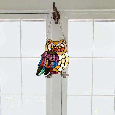 Multi-Colored Stained Glass Hoot's Owl Window Panel