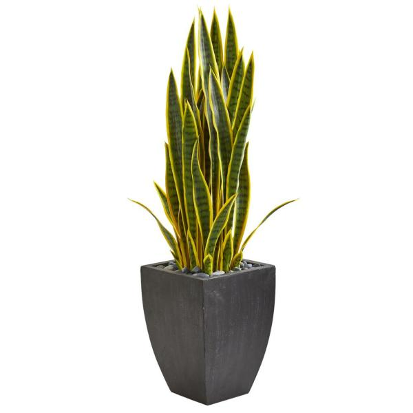 Nearly Natural Indoor 3.5-Ft. Sansevieria Artificial Plant in Black Planter