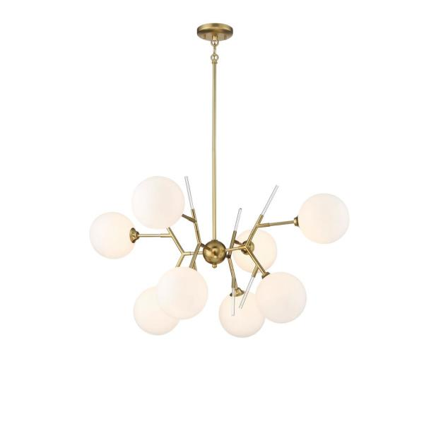 Polares 8-Light Honey Gold Cluster Chandelier with Glass Globe Shades