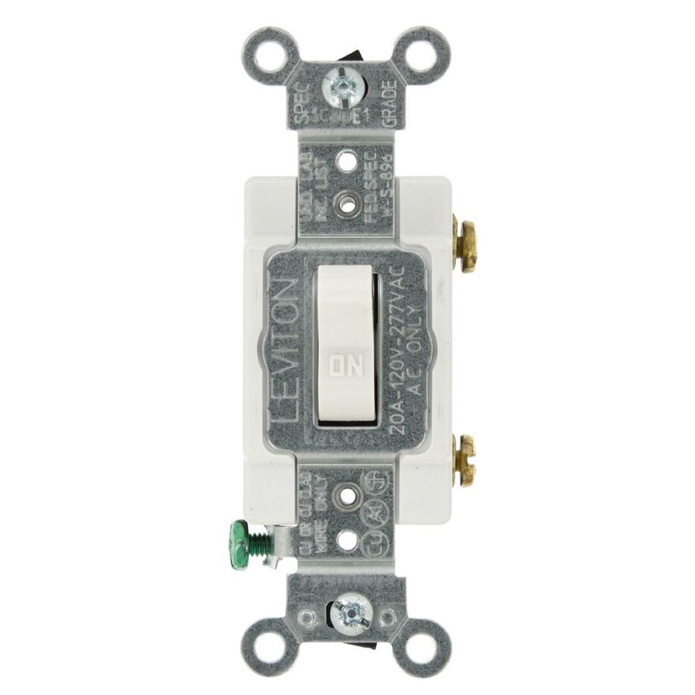 Leviton 20 Amp Single-Pole AC Quiet Toggle Switch, White