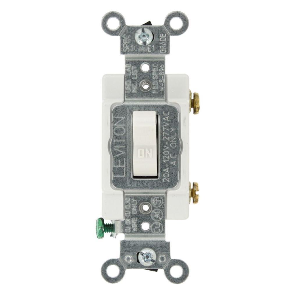 leviton 20 amp single-pole ac quiet toggle switch, white