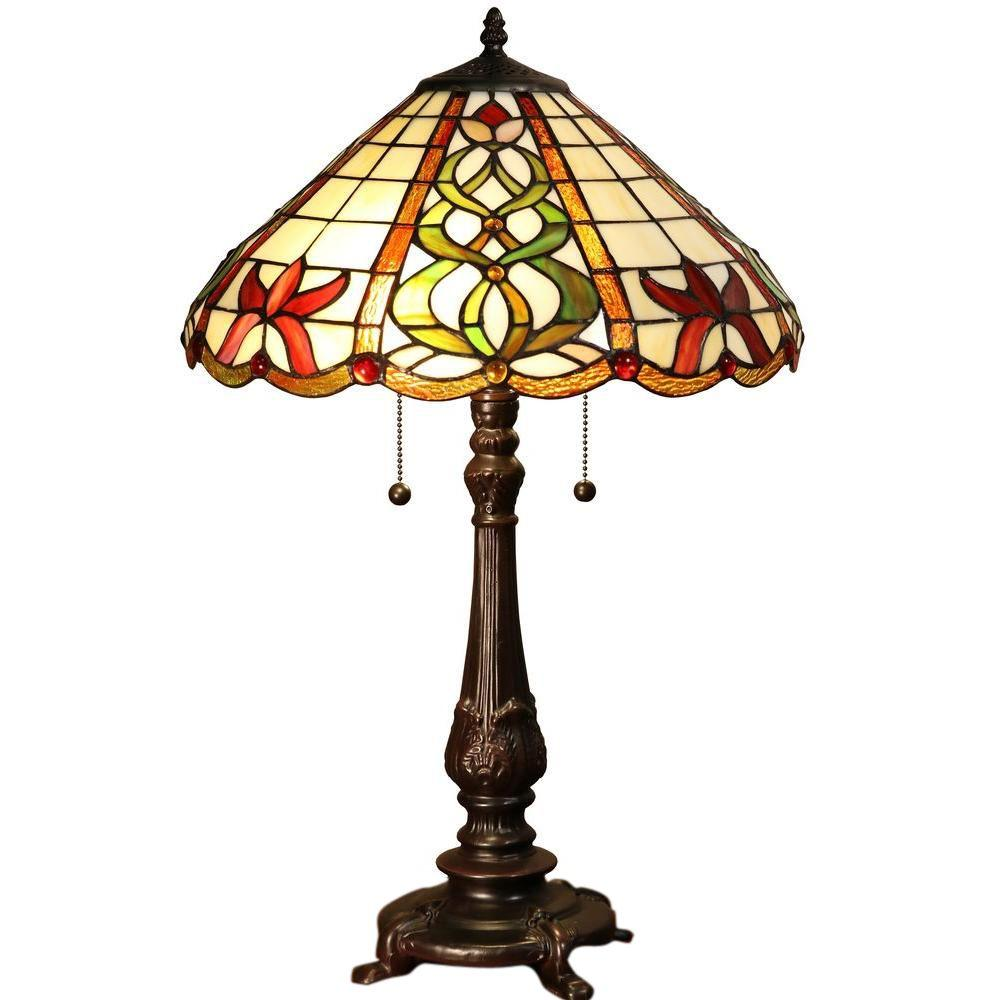 Camryn 23 in. Bronze Indoor Table Lamp with Tiffany-Style Shade
