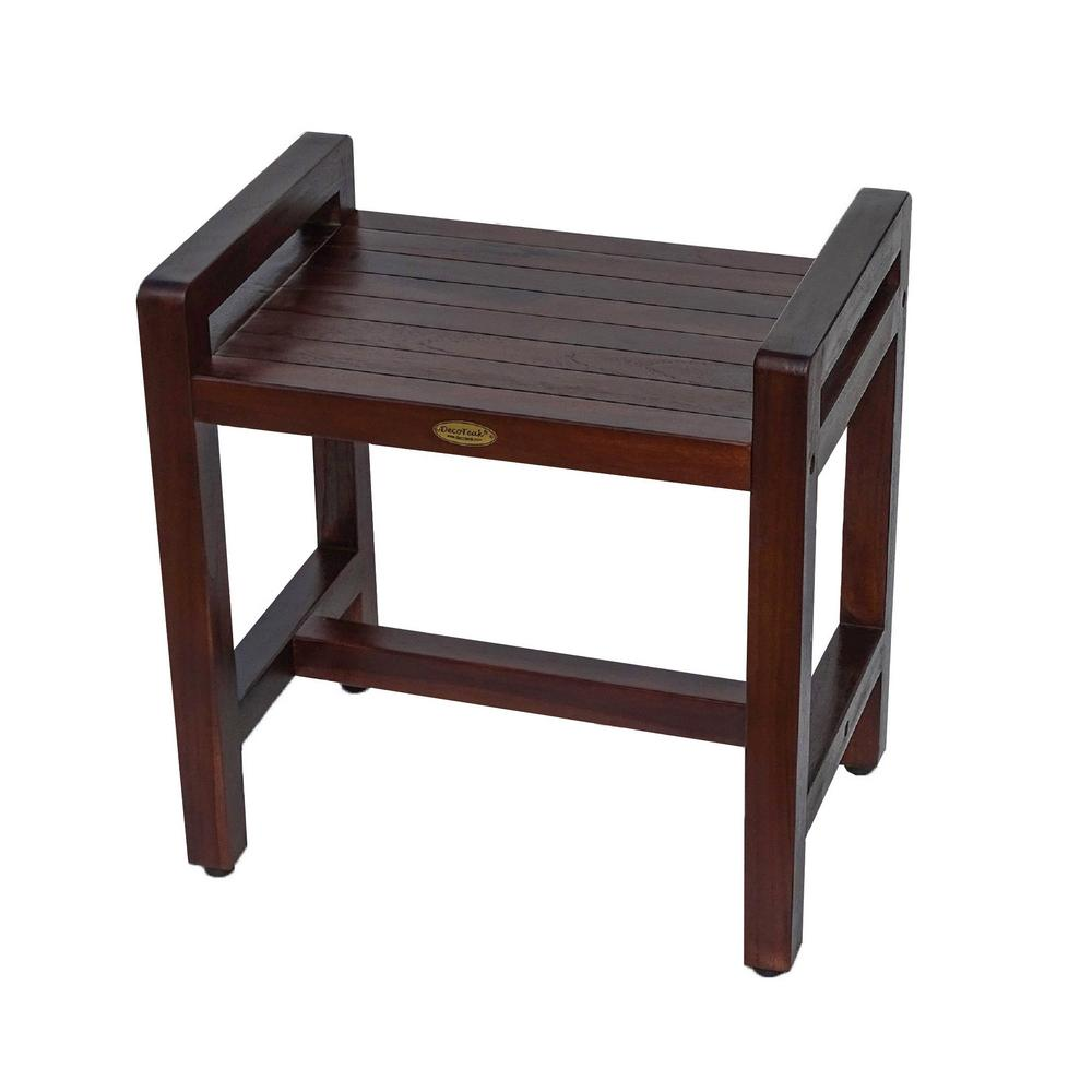 DecoTeak Classic 20 in. Ergonomic Teak Shower Stool with LiftAid Arms