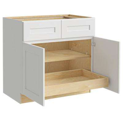 Newport Assembled 33x34.5x24 in. Plywood Shaker Base Kitchen Cabinet 1 rollout Soft Close in Painted Pacific White