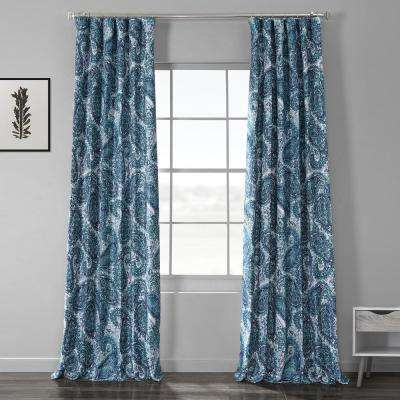 Naples Aqua Blue Printed Linen Textured Blackout Curtain - 50 in. W x 84 in. L (1-Panel)