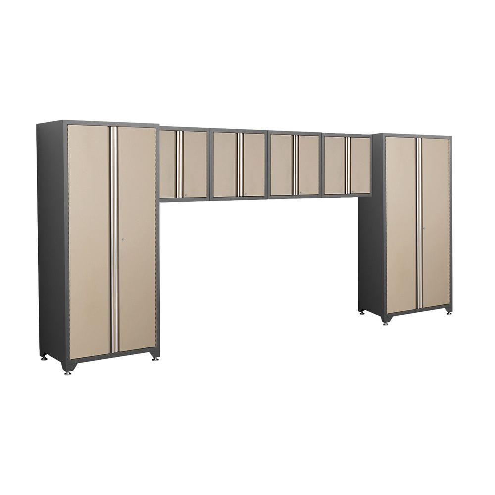 NewAge Products Pro Series 83 in. H x 184 in. W x 24 in. D Welded Steel Garage Cabinet Set in Taupe (6-Piece)