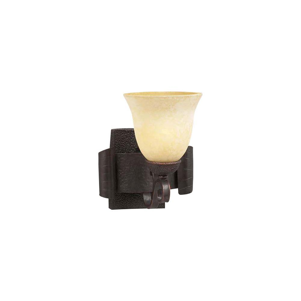 PLC Lighting 1 Light Wall Sconce Oil Rubbed Bronze Finish Estrauscan Scavo Glass