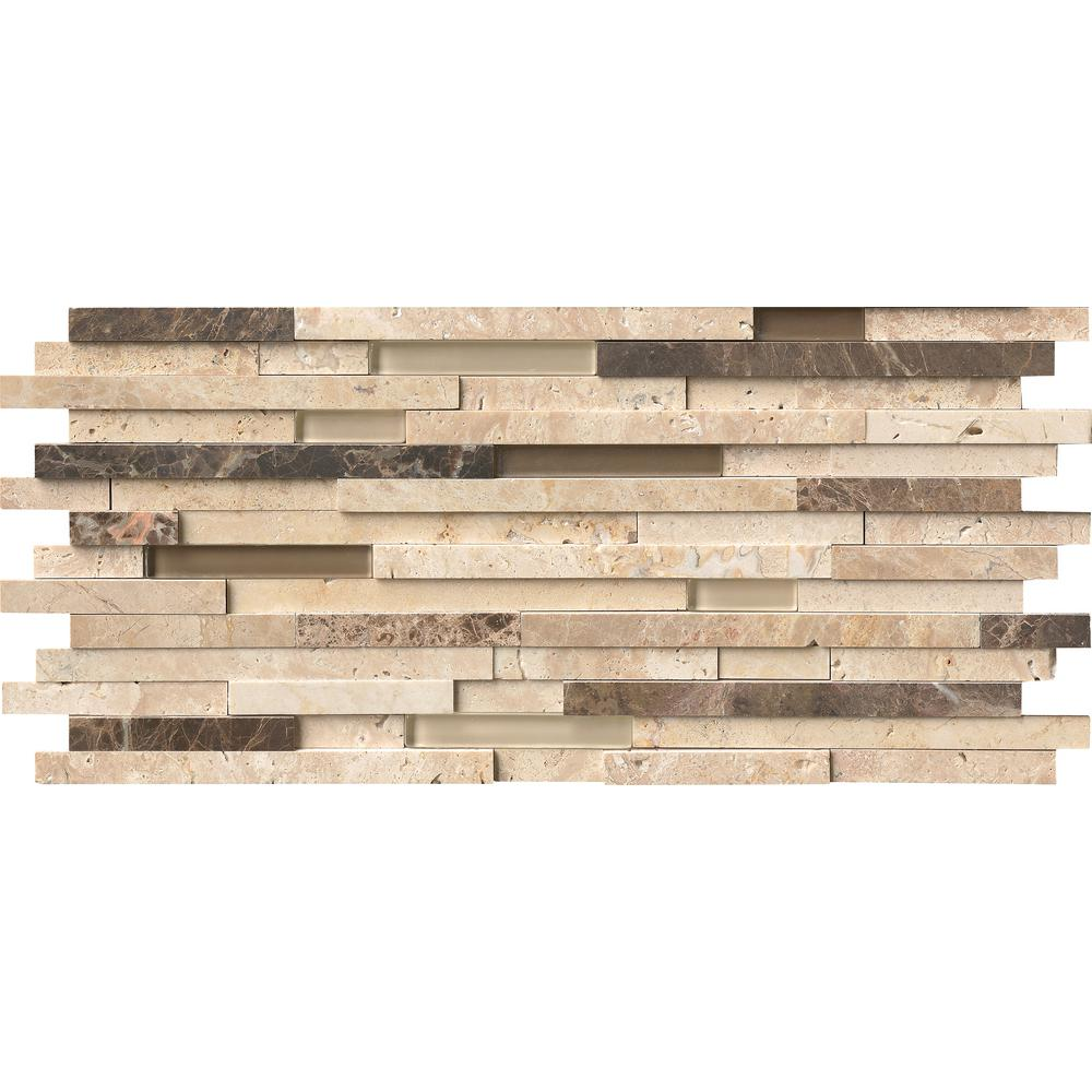 Inoxia Sdtiles Bengal Brown 11 77 In X 57 8 Mm Stone Self Adhesive Wall Mosaic Tile Usis313 2 The Home Depot