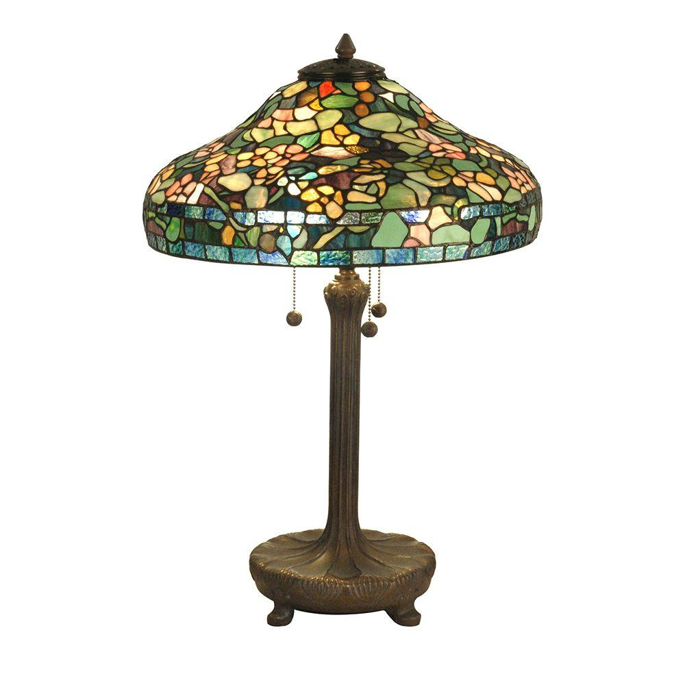 Dale Tiffany 26.5 in. Peony Replica Antique Verde Table Lamp