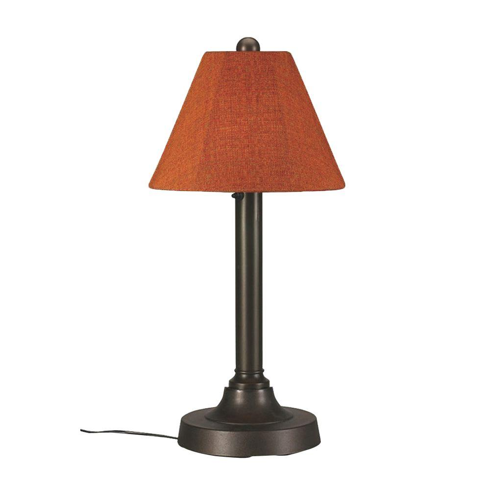 San Juan 30 in. Bronze OutdoorTable Lamp with Chile Linen Shade