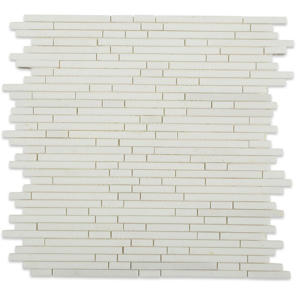 Random Kitchen Tile Patterns: Splashback Tile Windsor 1/4 In. White Thassos Pattern 12 In. X 12 In. X 10 Mm Marble Floor And