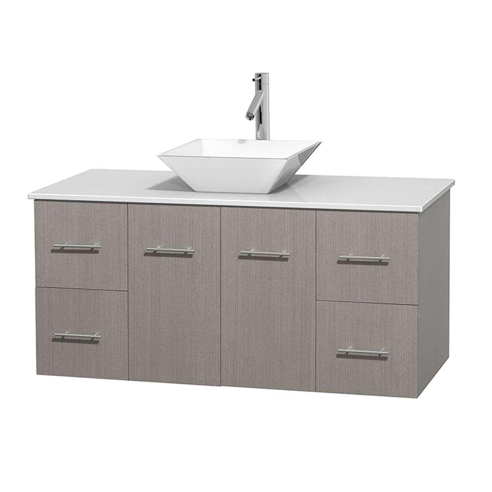 Wyndham Collection Centra 48 in. Vanity in Gray Oak with Solid-Surface Vanity Top in White and Porcelain Sink