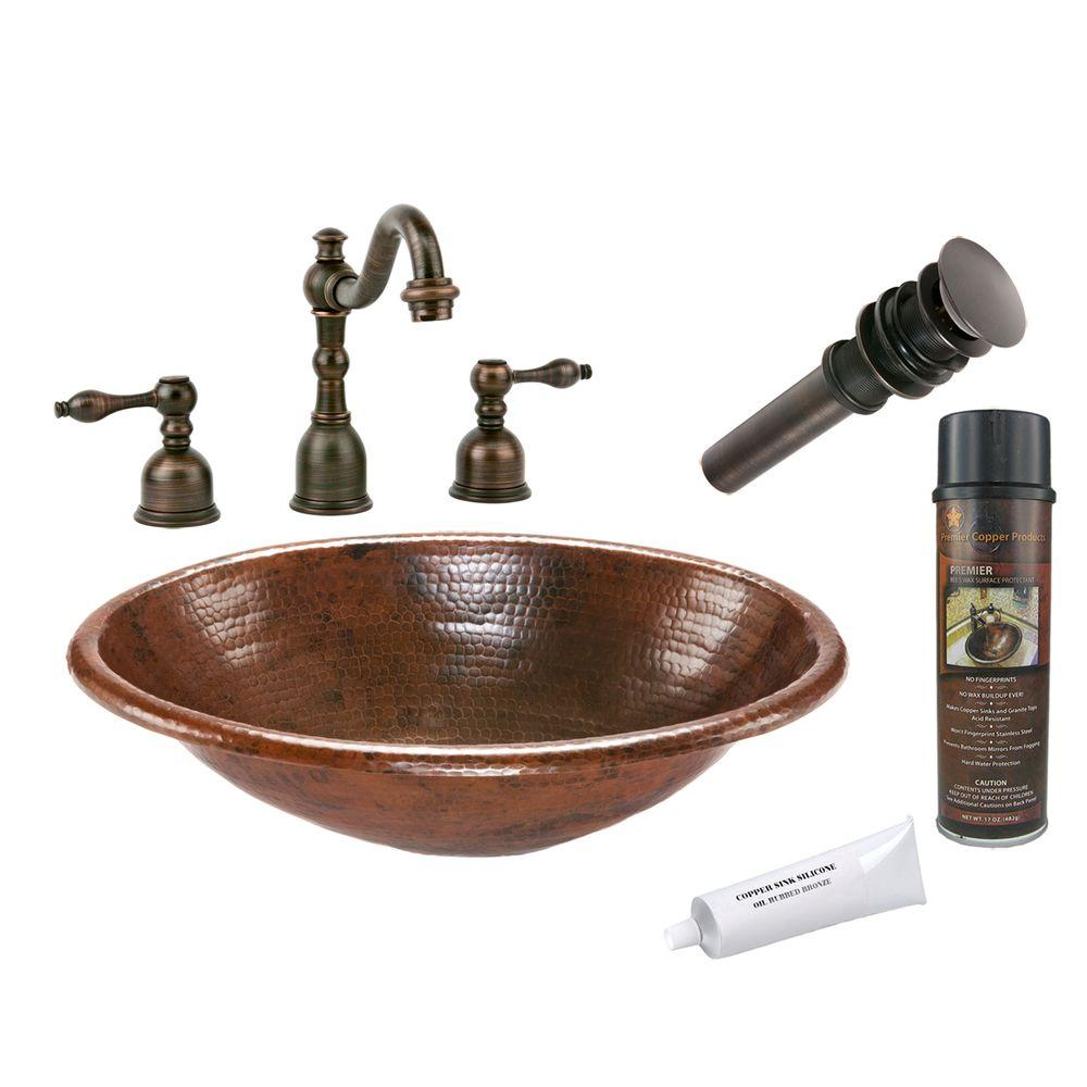 Premier Copper Products All In One Oval Self Hammered Bathroom Sink