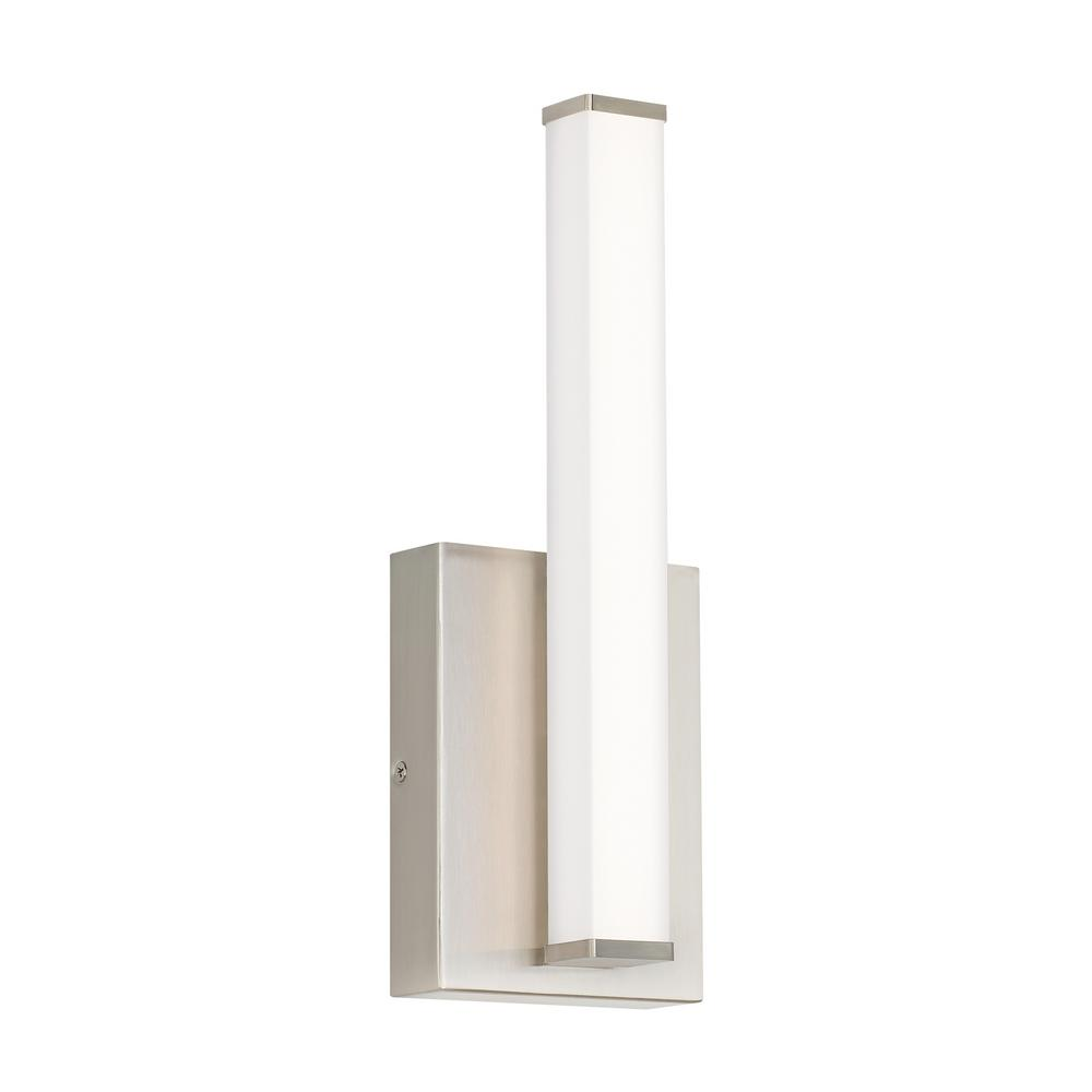 LBL Lighting Lufe Square 13-Watt Satin Nickel Integrated LED Wall Sconce When a sleek, contemporary solution is in order, the Lufe Square Wall rectilinear sconce light by LBL Lighting is the answer. The lighting fixture's substantial, rectangular backplate cleanly cradles the Frosted Acrylic lens and complements the angular end caps along with cleverly hidden hardware to finish the look. The Lufe Square Wall sconce light is perfect as bathroom lighting, hallway lighting, bedroom lighting and flanking a living room fireplace.