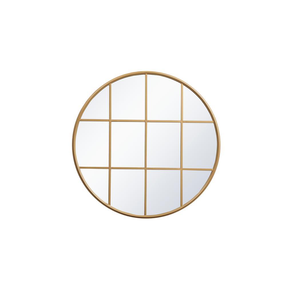 Medium Round Brass Contemporary Mirror (36.25 in. H x 36.25 in. W)