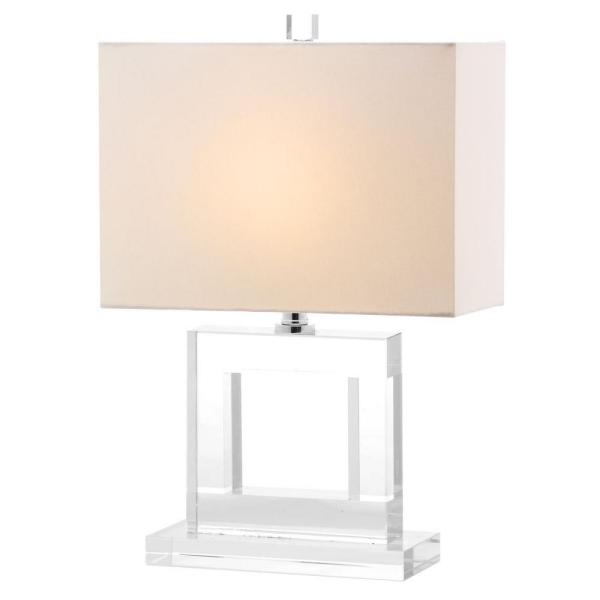 Safavieh - Town 20.5 in. Clear Square Crystal Column Table Lamp with White Shade