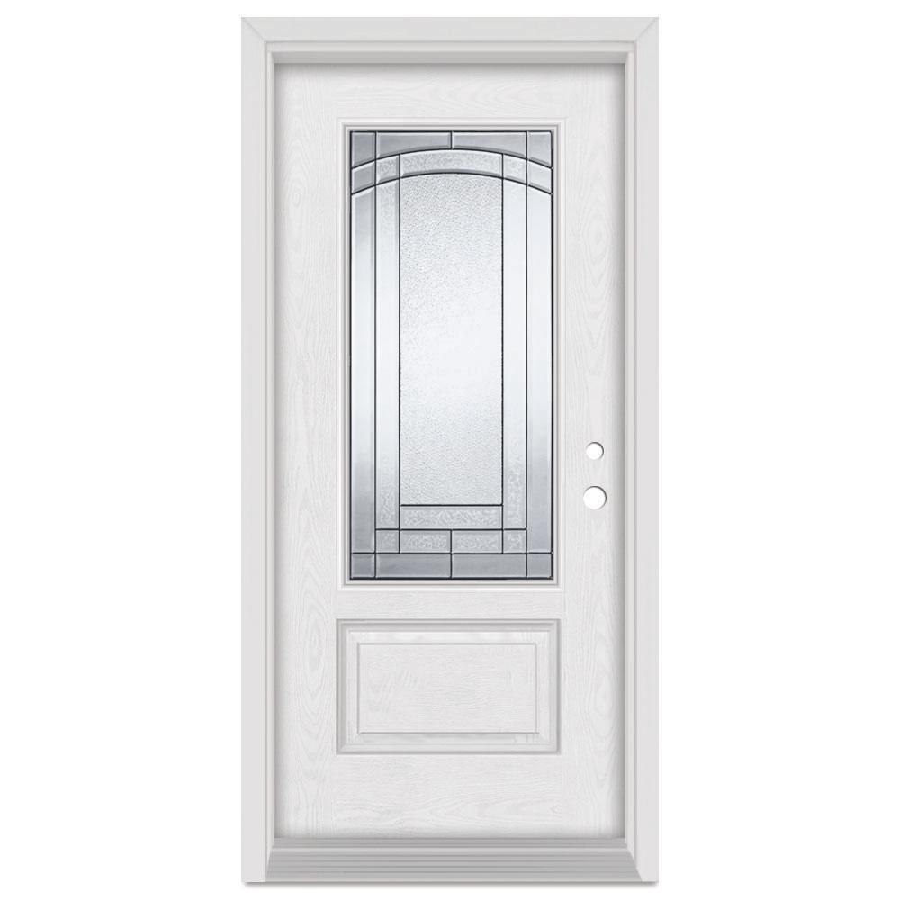 Stanley Doors 33.375 in. x 83 in. Chatham Left-Hand 3/4 Lite Patina Finished Fiberglass Oak Woodgrain Prehung Front Door Brickmould