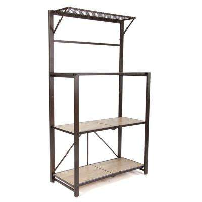 Heavy Duty Durable Organizational Baker's Rack with Wood Shelf Brown