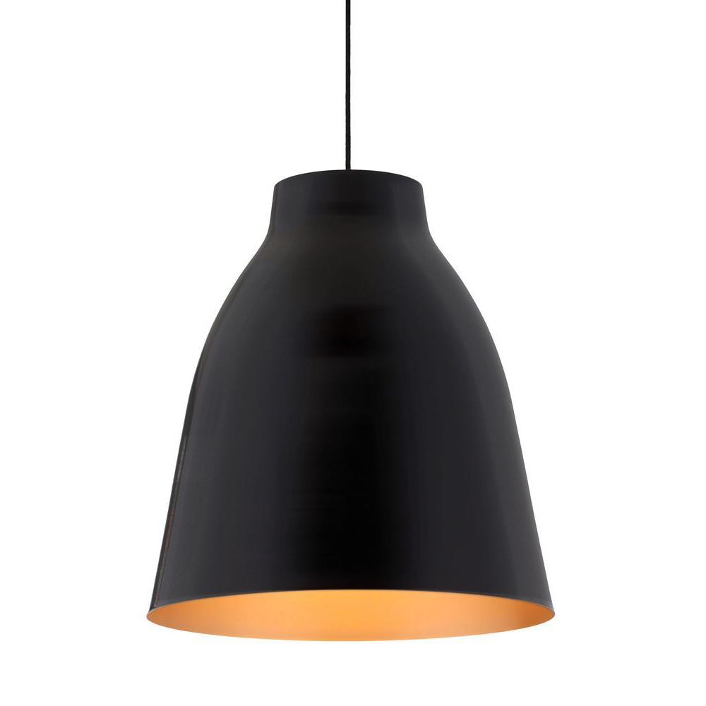 Bronze 1-Light Matte Black Ceiling Pendant