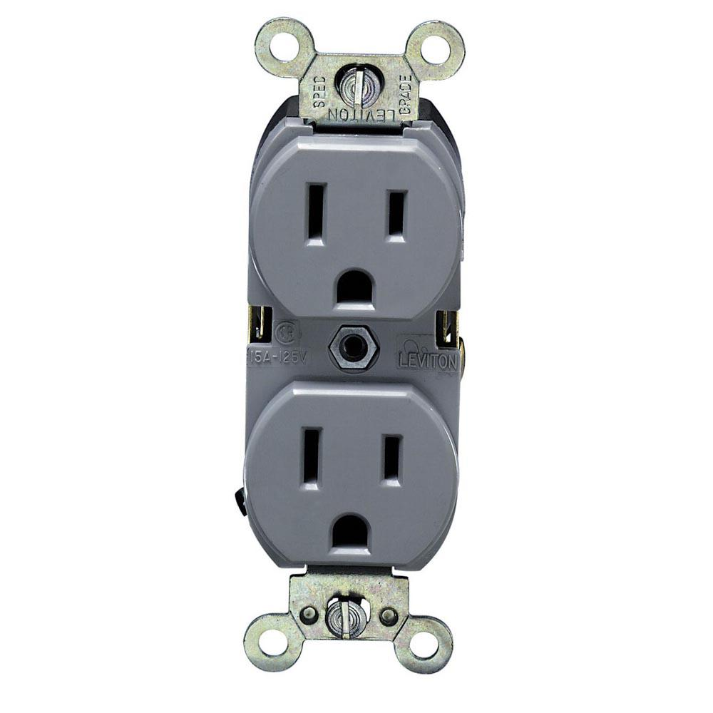 Gray Electrical Outlets Receptacles Wiring Devices Light Kitchen Sockets 15 Amp Industrial Grade Heavy Duty Self Grounding Duplex Outlet
