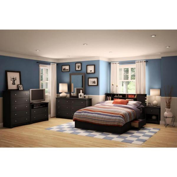 South Shore Vito 2-Drawer Queen-Size Storage Bed in Pure Black