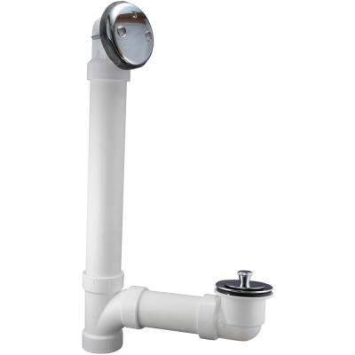 Twist and Close 1-1/2 in. Schedule-40 White PVC Pipe Bath Waste and Overflow Drain in Chrome