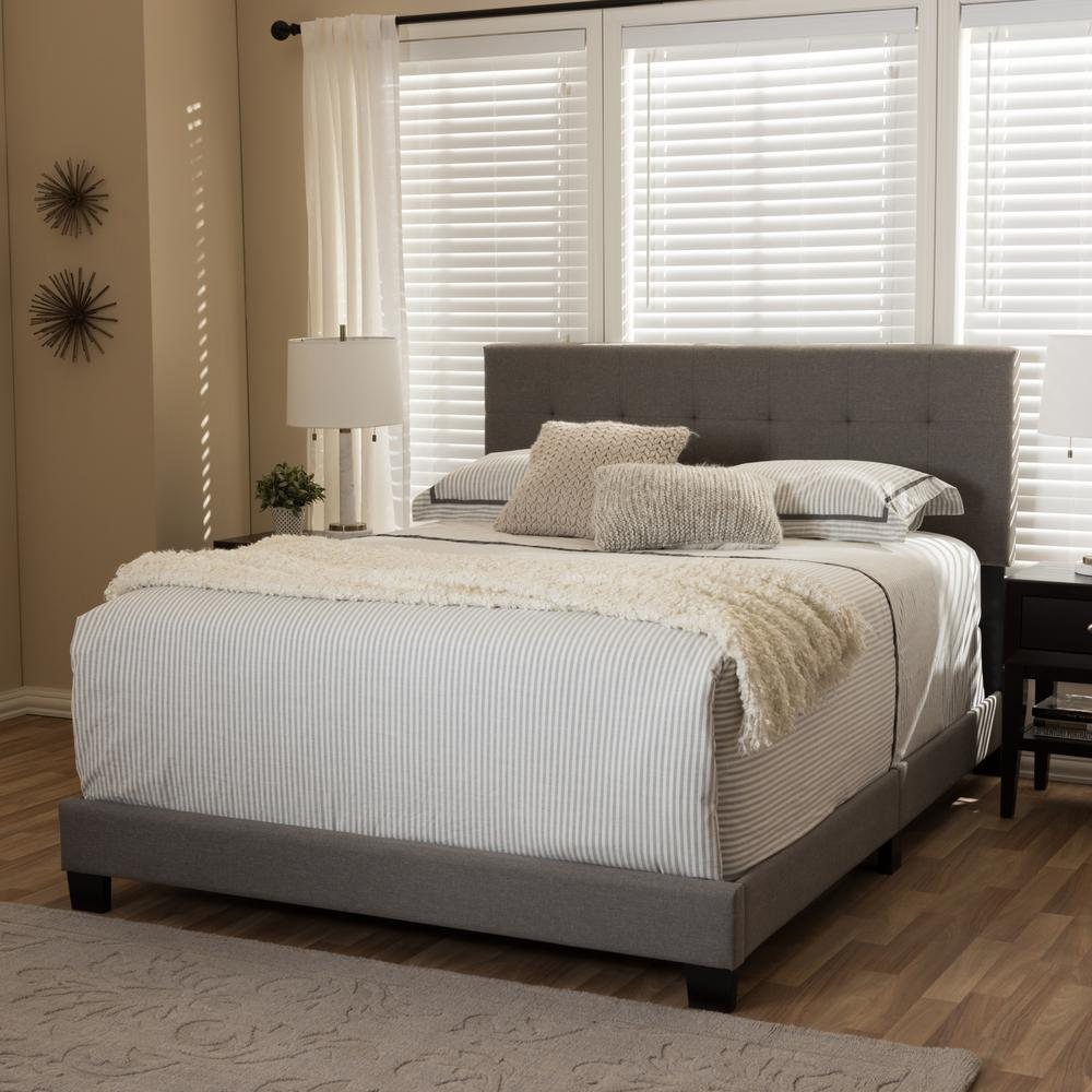 Baxton studio brookfield contemporary gray fabric - Contemporary king size bedroom furniture ...
