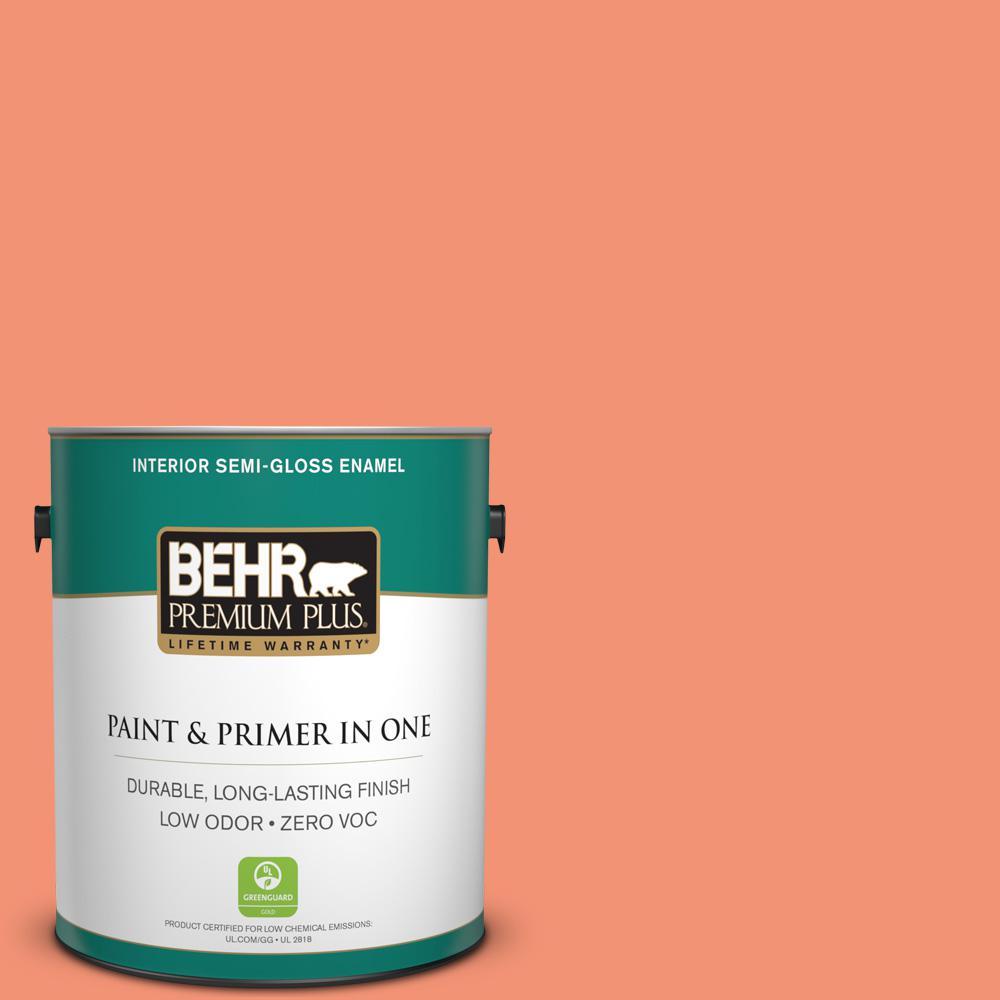 BEHR Premium Plus 1-gal. #200B-5 Indian Dance Zero VOC Semi-Gloss Enamel Interior Paint
