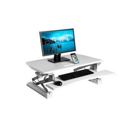 "AIRLIFT White 35.4"" Height Adjustable Standing Desk Converter Workstation With Dual Monitor Riser and Keyboard Tray"