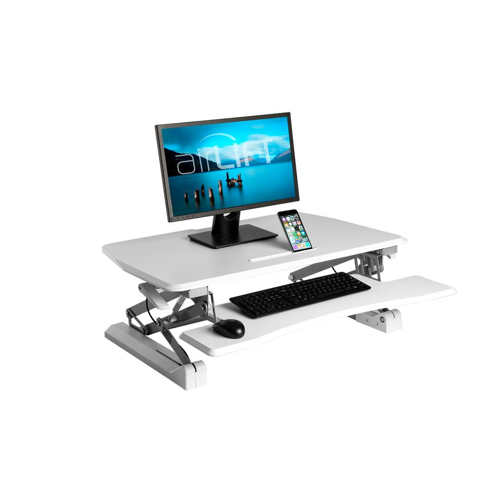 AIRLIFT White Gas-Spring Standing Desk Converter with Keyboard Tray and Tablet