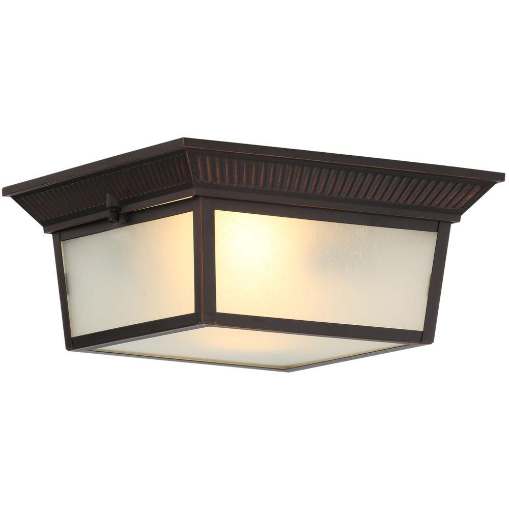 Hampton Bay 2-Light Indoor/Outdoor Oil-Rubbed Bronze Flushmount ...