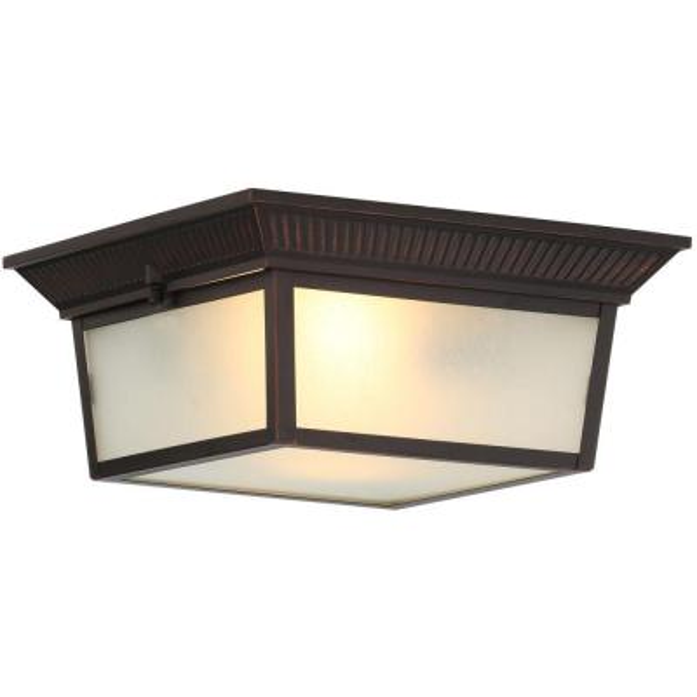 2-Light Indoor/Outdoor Oil-Rubbed Bronze Flushmount Light