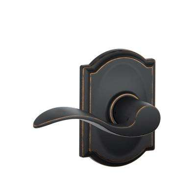 Accent Aged Bronze Passage Hall/Closet Door Lever with Camelot Trim