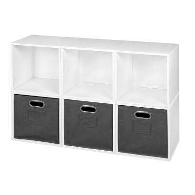 Cubo 39 in. W x 26 in. H White Wood Grain/Grey 6-Cube and 3-Bin Organizer