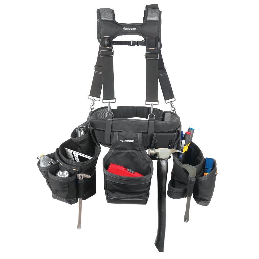17-Pocket Black Framer's Tool Belt with Suspenders