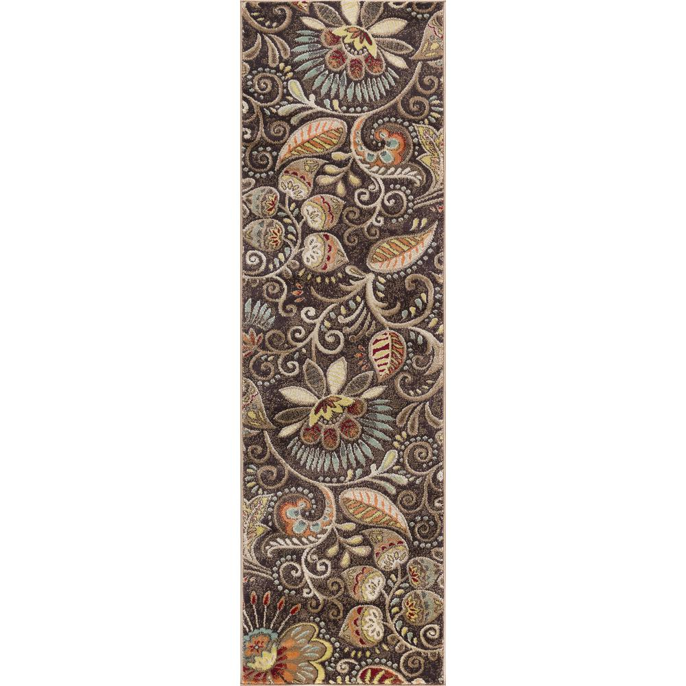 Tayse Rugs Capri Brown 2 ft. 3 in. x 7 ft. 3 in. Transitional Runner