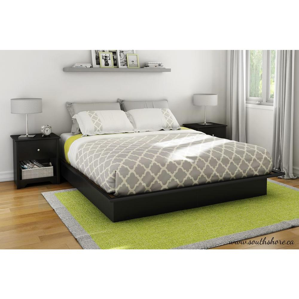 South shore step one king size platform bed in pure black Platform king bed