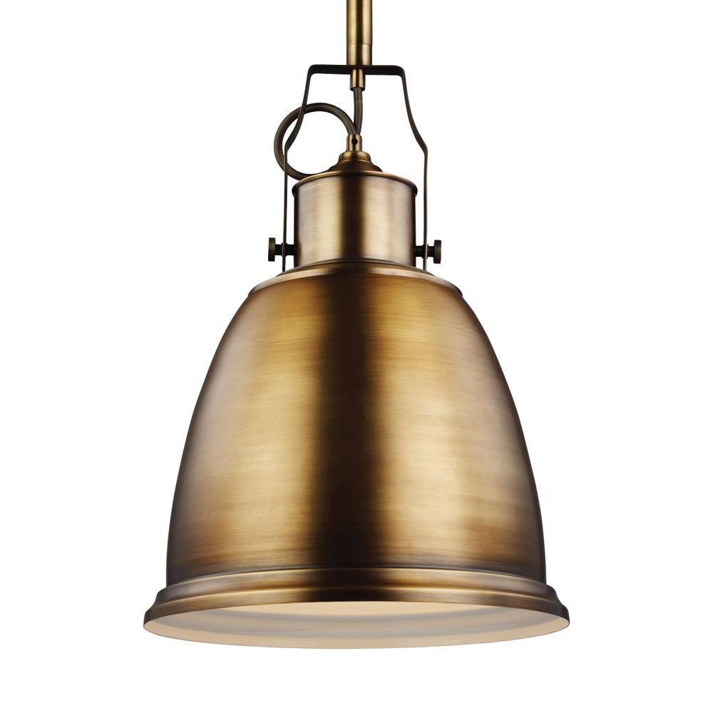 Hobson 1-Light Aged Brass Pendant