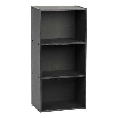 Black 3-Tier Wood Storage Shelf